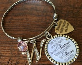 Sister gift,  PERSONALIZED bracelet, sister bracelet, SISTER jewelry, Side by side or miles apart we are sisters forever connected by heart