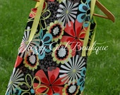 Bright Bold Flowers Girls Boutique Pillowcase Dress Floral Fabric with Yellow Ribbon That Ties Over Both Shoulders
