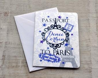 Save the Date Wedding Passport Design Fee (Sweet Sixteen Purple Paris Design)