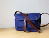 Waxed Canvas and Leather Satchel in Royal Blue // Weather Resistant