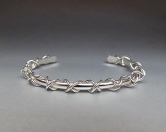 Sterling Silver Criss Cross Cuff Bracelet