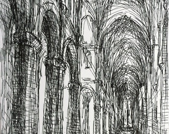 Gothic Cathedral-  Architectural Drawing - Original - by Michelle Arnold Paine