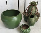 Vintage Pottery Cactus Planter - Choice - Green - Small Medium Large