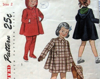 Vintage Girls Coat Pattern With Detachable Hood And Leggings circa 1950 Simplicity 2578 Sz 1 or 2 Available