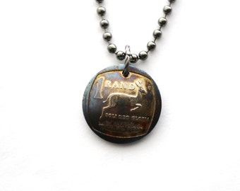African Domed Coin Necklace, Authentic South Africa, Afrika, 2008, 1 Rand, Pendant Jewelry by Hendywood