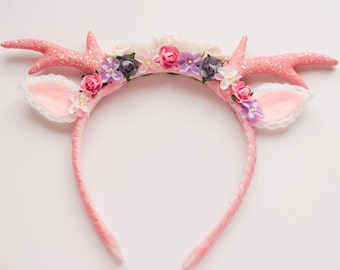 Pink Floral Deer Headband