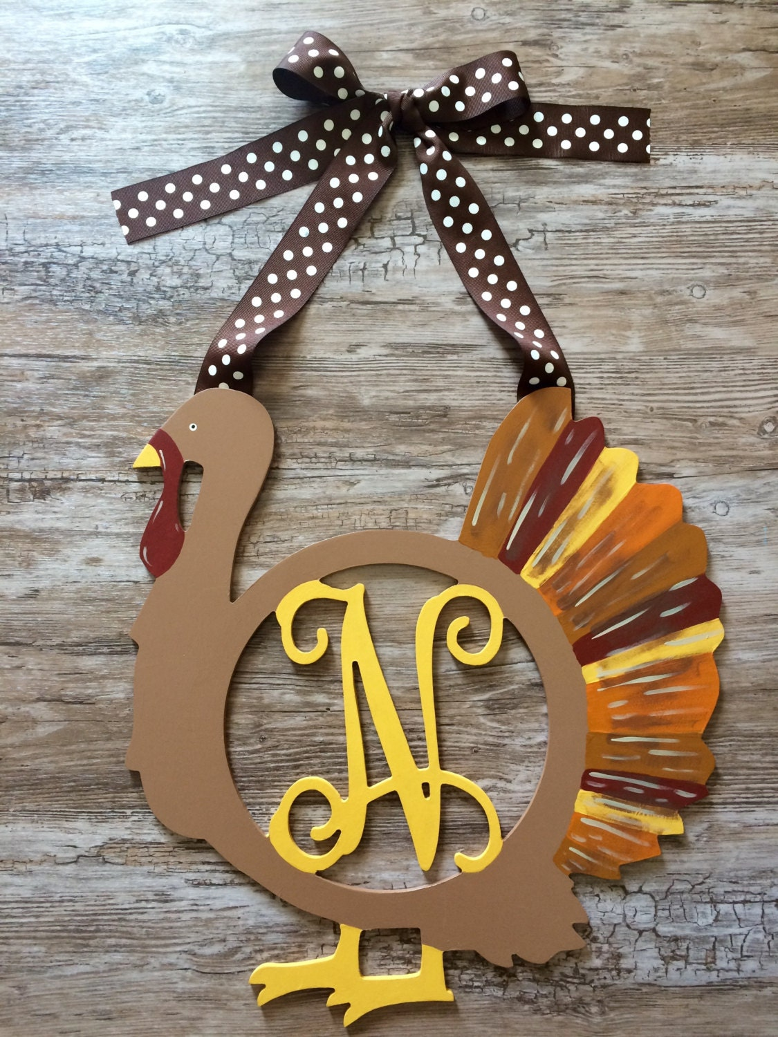 Wooden Thanksgiving Turkey Monogram Painted Decor Wood Initial