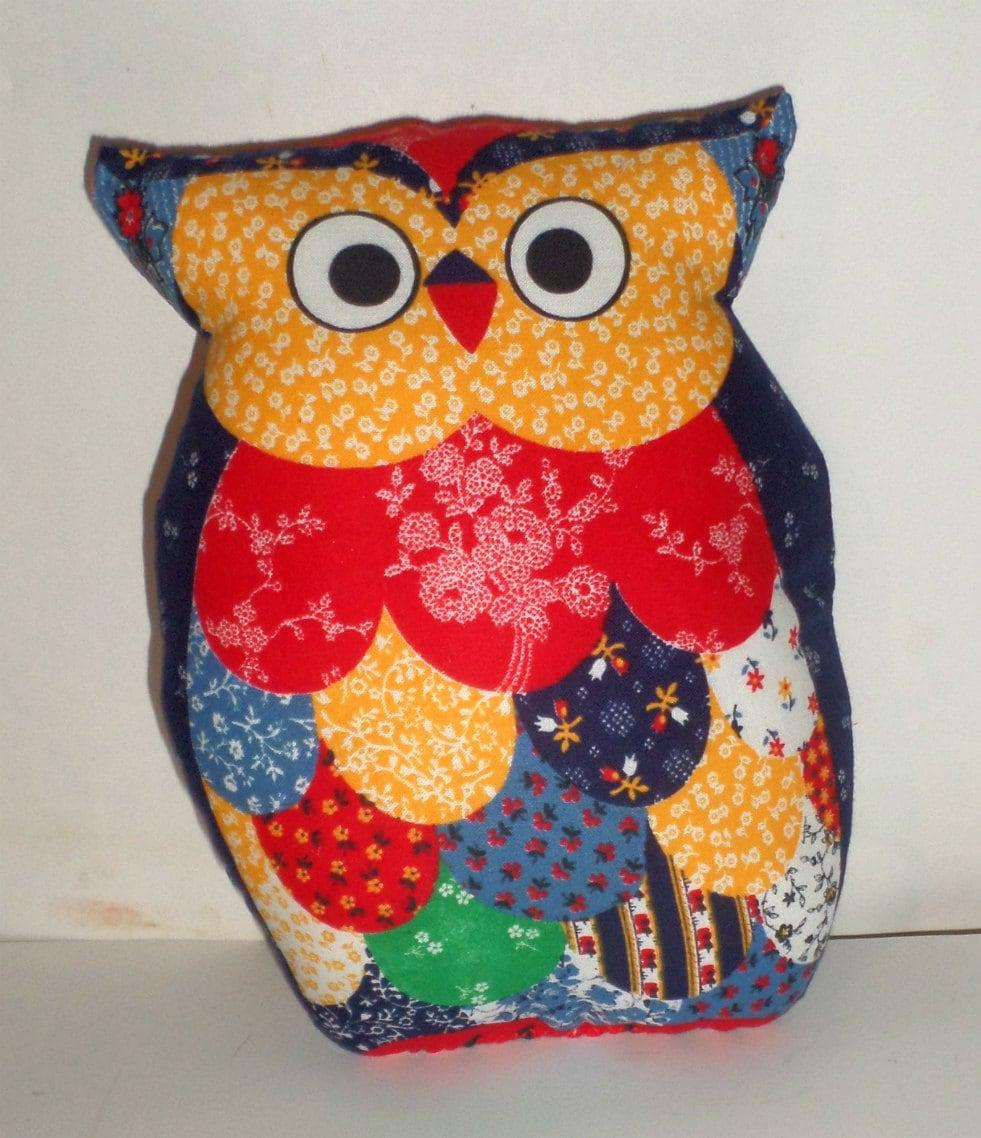 Small Owl Pillow Calico Owl Owl Home Decor Decorative