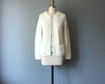 vintage white cardigan / fuzzy granny sweater / small
