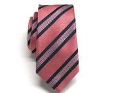 Mens Ties Coral Navy Blue Stripes Skinny Necktie. Wedding Ties. Skinny Ties