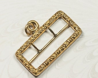 Small Antique Georgian Pinchbeck Buckle /For Watch Chain / String Buckle With Repousse Decoration Regency