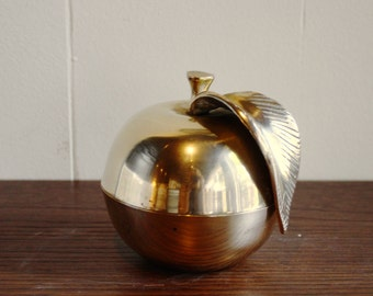 Vintage brass apple container with lid