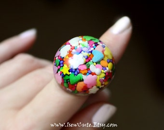 Large Candy Sprinkles Resin Statement Ring, Cute Resin Jewelry, Big Sprinkles Ring, Pastel Goth, Candy Raver, Chunky Resin Ring by isewcute