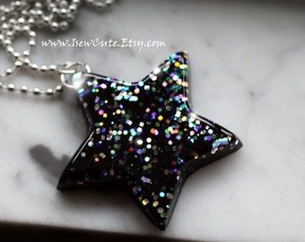 Chunky Resin Star, Twinkly Star Necklace, Catch a Falling Star Like A Rainbow Galaxy Necklace...glitter resin jewelry handmade by isewcute