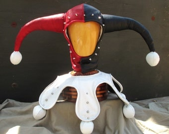 Leather Red/ Black Studded Hood and Collar w/ Leather Pompoms for Harley Quinn Cosplay