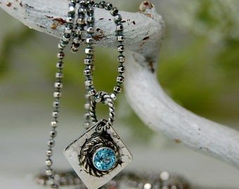 AAA Blue Topaz Pendant Oxidized Sterling Silver Blue Gemstone Necklace