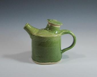 Teapot - Green Teapot - Oval Teapot - Tea Pot - Oval Tea Pot with Texture - Coffee Pot - Carafe - Decanter - Handmade Pottery