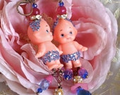 Lilygrace Pink and Blue Vintage Kewpie Doll Earrings with Vintage Rhinestones and Glass Flower Beads