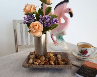 Miniature FLORAL Bouquet in Metal Cylinder Vase on Ceramic Tray with Pebbles for 1:6 Scale Fashion Dolls and Action Figures