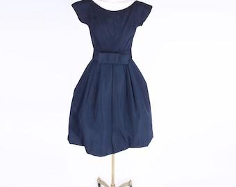 50s Fred Perlberg Navy Blue Taffeta Full Skirt Cocktail XS