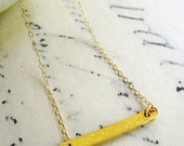 Gold Bar Pendant Necklace, Horizontal Layering Necklace, 14k Gold Fill, Hammered Gold Bar Charm