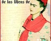 Frida Kahlo Bookplates Instant Digital Download Mexico Spanish Language DIY Book Plate de los libros de From the Library Of Red Purple Black