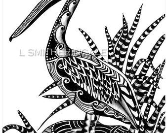 Zentangle-Inpired Pelican Print - Unmatted