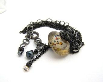 Black oxidized meta bracelet, Multi layer bracelet, glass bracelet, wire wrapped, multi strand bracelet, chain bracelet, statement jewelry