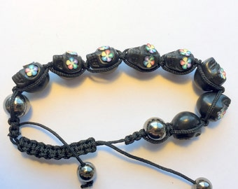 Black and Rainbow Adjustable Day of the Dead Sugar Skull Bracelet