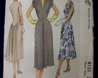 Vintage 1950 McCall Sewing Pattern .  Gathered Back Skirt & Shoulders . Size 14 Bust 32