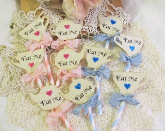 Baby Shower Eat Me Deluxe Straw Cupcake Toppers w/ribbons  - Teapot Teacup Cupcake Toppers Tea Party Picks -Sparkle Hearts -Set of 12- Alice