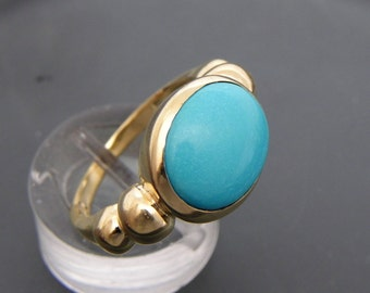 AAAA Flawless Natural Untreated Robins Egg Blue Turquoise 12x10mm 14K yellow gold ring. m