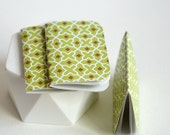 Pack {3} Blank Books Mini Journals Green Geometric Vintage - Thank You Bridesmaids Favors - Gift under 5 - Gift for Mom - Stocking Stuffer