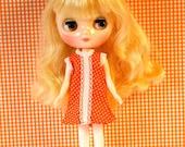 Orange Polka Dot Fun Mod Middie Blythe Doll Shift Dress