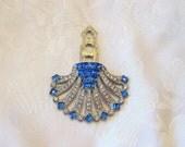 Stunning Vintage Art Deco Dress Clip Rhinestone Sapphire Crystal Silvertone Restored