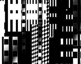Skyscraper Black White City Benartex Fabric 1 yard