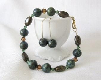 VALE Bead Bracelet / Earrings Set, Blue Green Azurite Malachite, Brown Bronzite, Semiprecious, Swarovski Crystal, Gold Clasp, Free Shipping