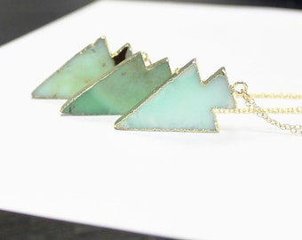 Long Pendant Necklace, Chrysoprase Stone Necklace, Layering Necklace Long, Gold Dipped Arrowhead Necklace, Long Necklace, Boho Necklace