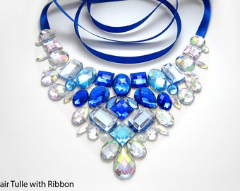 Blue and Crystal AB Rhinestone Bib Necklace, Elegant Blue Rhinestone Statement Necklace, Blue Jeweled Bib Necklace, Holiday Necklace