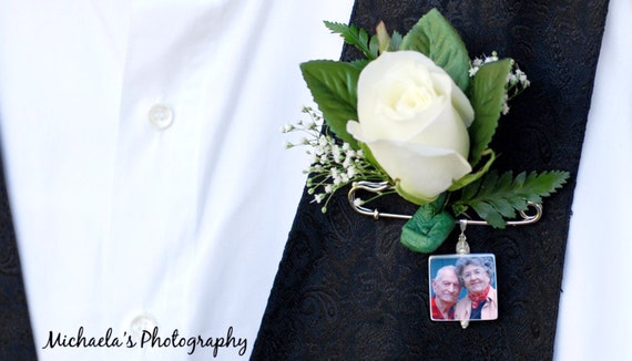 Grooms Boutonniere Memorial Photo Charm -  Medium - BP2