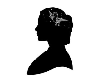 Stars Constellation Silhouette Print Her Mind Is Full Of Stars Astronomy Night Sky Black and White
