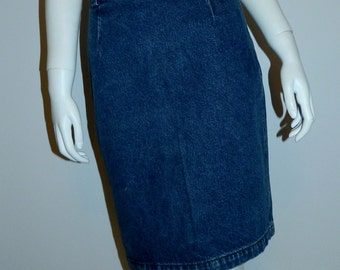 vintage 1980s denim skirt / Calvin Klein Sport pencil skirt / high waisted raw denim XS