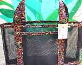 Tote Bag Colorful Garden Filigree Print Fabric and Vinyl Mesh Tote Bag