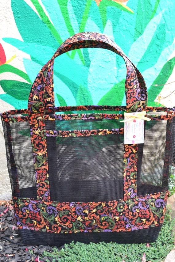 Tote Bag Colorful Garden Filigree Print Fabric And Vinyl Mesh
