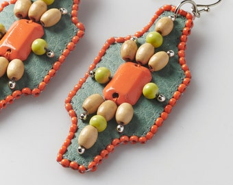 Bead embroidered earrings handmade - Facets collection -