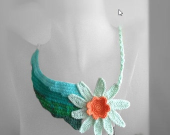 Free form crochet necklace Last flower on the meadow