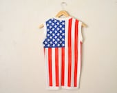"70's ""England-American"" Flags Sleeveless Shirt.."