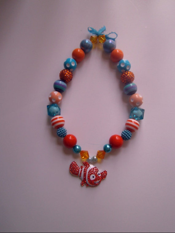 Disney Finding Nemo Girls Bubblegum Bead Necklace, Chunky Bead Necklace, Toddler Necklace, Kids Jewelry, Girls Costume, Finding Dory