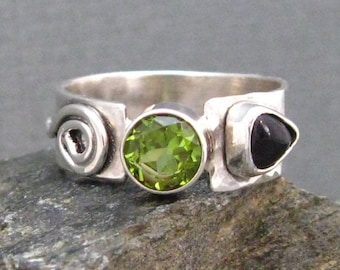 Artisan Sterling Silver Ring with Peridot and Amethyst Trillion, Handcrafted Gemstone Ring by Liz Blanchflower