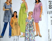 Maternity Dress Or Top, Pull-On Pants And Skirt, McCall's 2103 Sewing Pattern, Sizes 6-8-10, Bust 30.5-31.5-32.5, East to Sew, Uncut FF